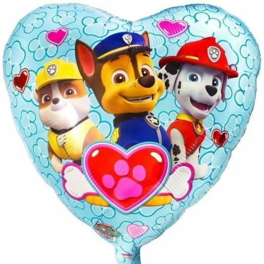 Щенячий патруль сердце шар фольгированный с гелием