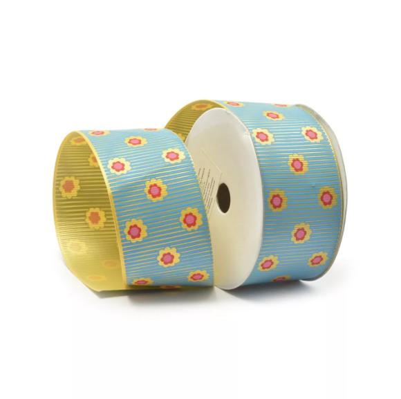 Лента репсовая (в рубчик) 40 мм с рисунком Цветочки на полосках разные цвета TBY.ЛРР.TX-26