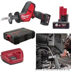 Комплект MILWAUKEE M12 FUEL CHZ-602C: Сабельная аккумуляторная пила FUEL CHZ-0 ПЛЮС 2 Аккумулятора M12 B6, Зарядное устройство C12 C в кейсе 4933451511