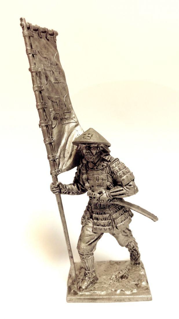Фигурка Самурай асигару-знаменосец олово