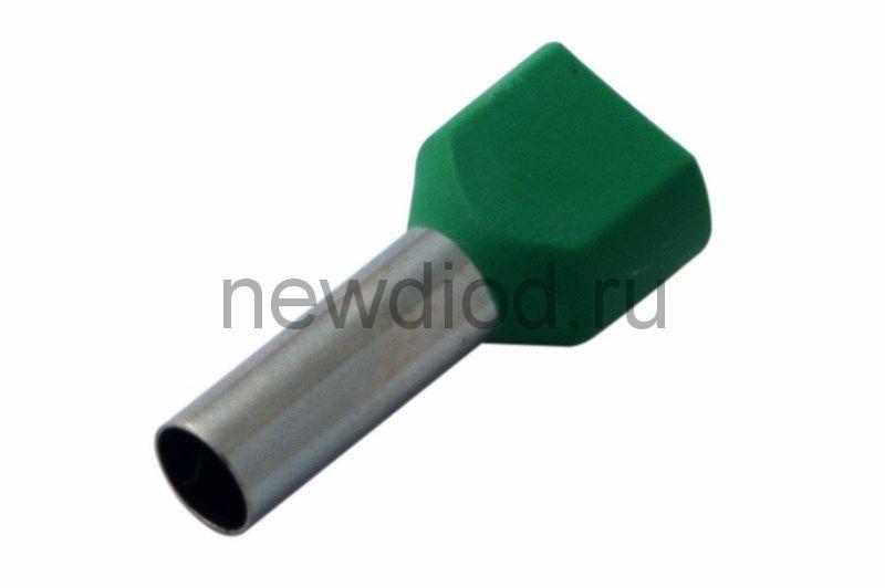 Наконечник штыревой втулочный изолированный F-14 мм 2х6 мм² (НШВи(2) 6.0-14/НГи2 6,0-14) зеленый REX