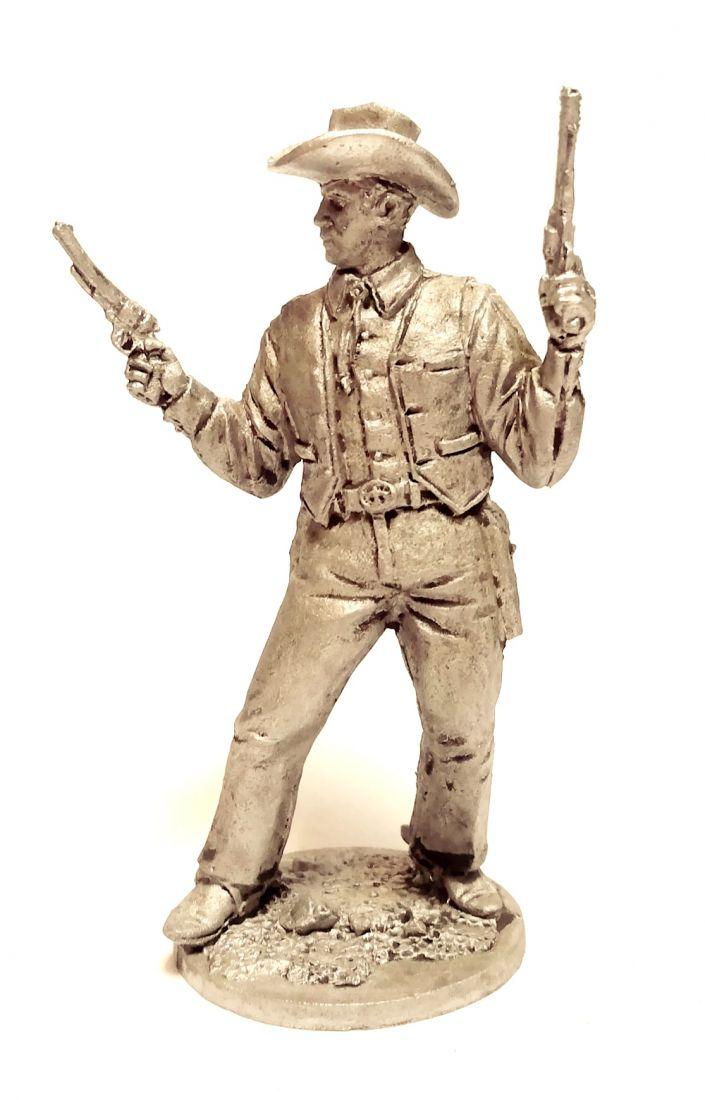Фигурка Ковбой с двумя револьверами олово