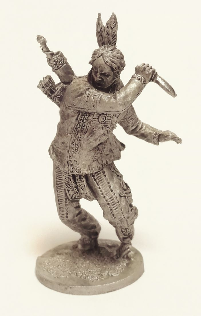 Фигурка Индеец с ножом в бою олово
