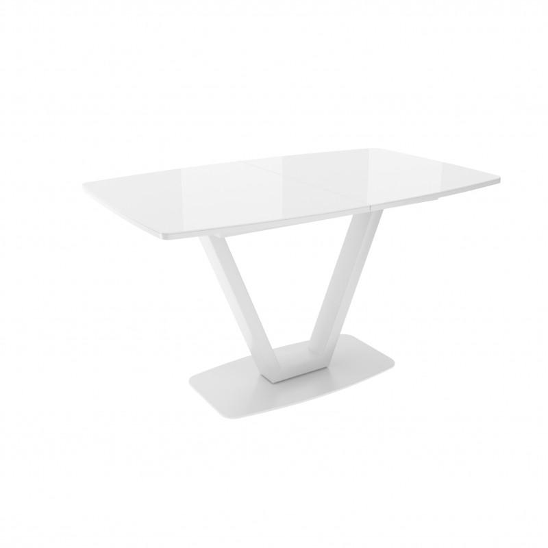 ЛОТУС стол раздвижной со стеклом Optiwhite Белый/Белый ЛИСТВИНГ