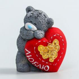 """Силиконовая форма """"Медвежонок Me to you влюблённый с большим сердцем - Люблю"""" 4,5 см"""