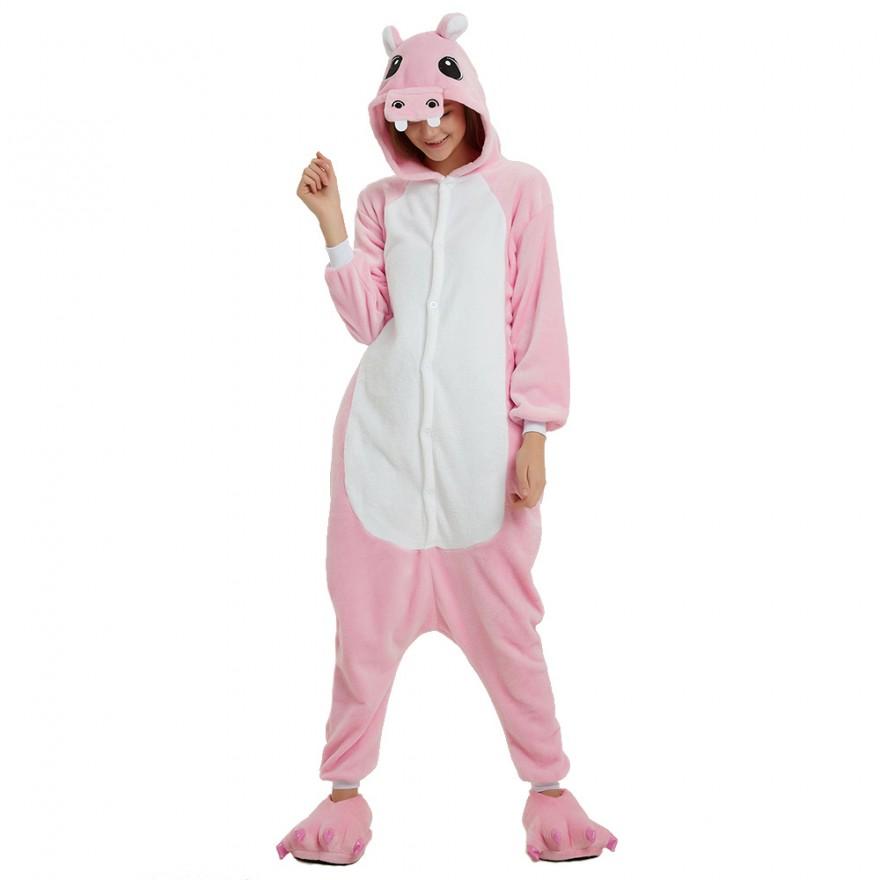 Детская Пижама Кигуруми Розовый Бегемот