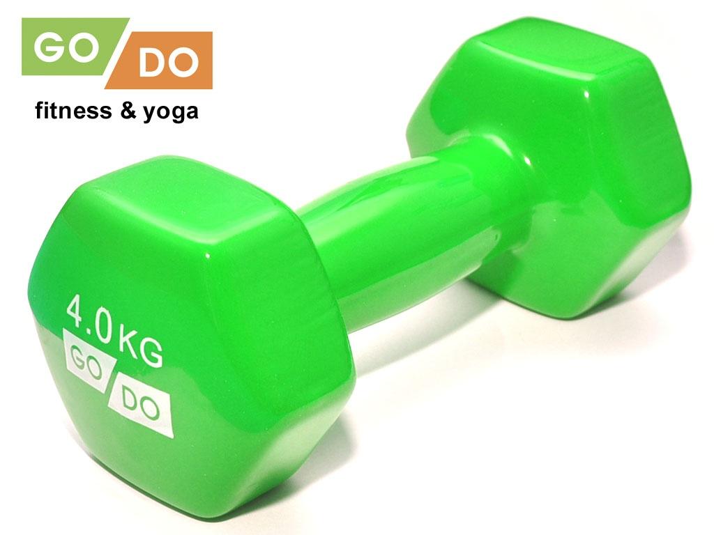Гантель GO DO в виниловой оболочке. Вес 4 кг. (зелёный)., артикул 31730 (шт.)