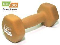 Гантель GO DO в виниловой матовой неопреновой оболочке. Вес 3 кг. (оранжевый)., артикул 31562 (шт.)