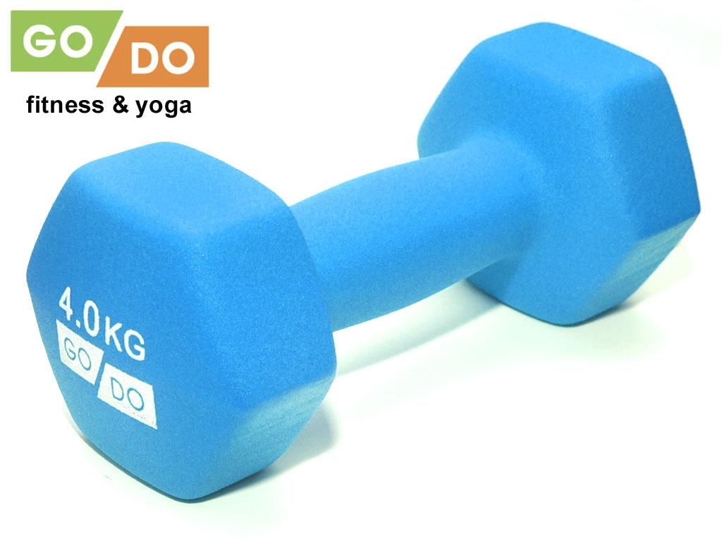 Гантель GO DO в виниловой матовой неопреновой оболочке. Вес 4 кг. (голубой)., артикул 31732 (шт.)
