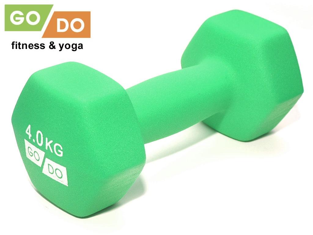 Гантель GO DO в виниловой матовой неопреновой оболочке. Вес 4 кг. (зелёный)., артикул 31732 (шт.)