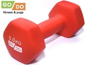Гантель GO DO в виниловой матовой неопреновой оболочке. Вес 5 кг. (красный), артикул 31733 (шт.)