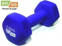 Гантель GO DO в виниловой матовой неопреновой оболочке. Вес 5 кг. (синий), артикул 31733 (шт.)