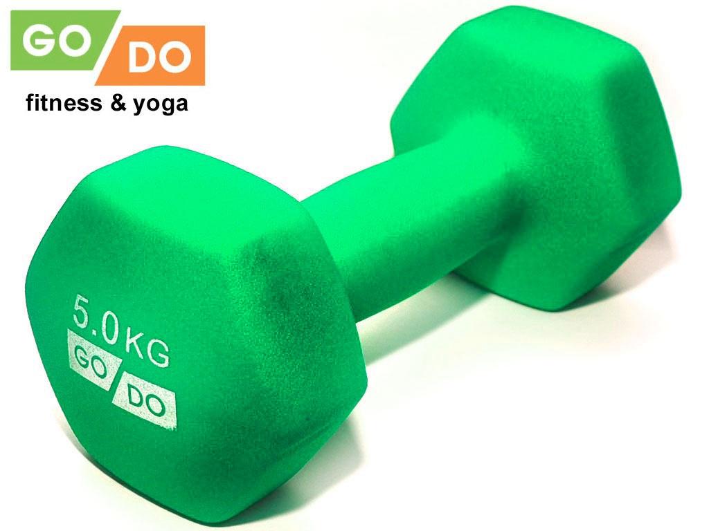 Гантель GO DO в виниловой матовой неопреновой оболочке. Вес 5 кг. (зелёный), артикул 31733 (шт.)