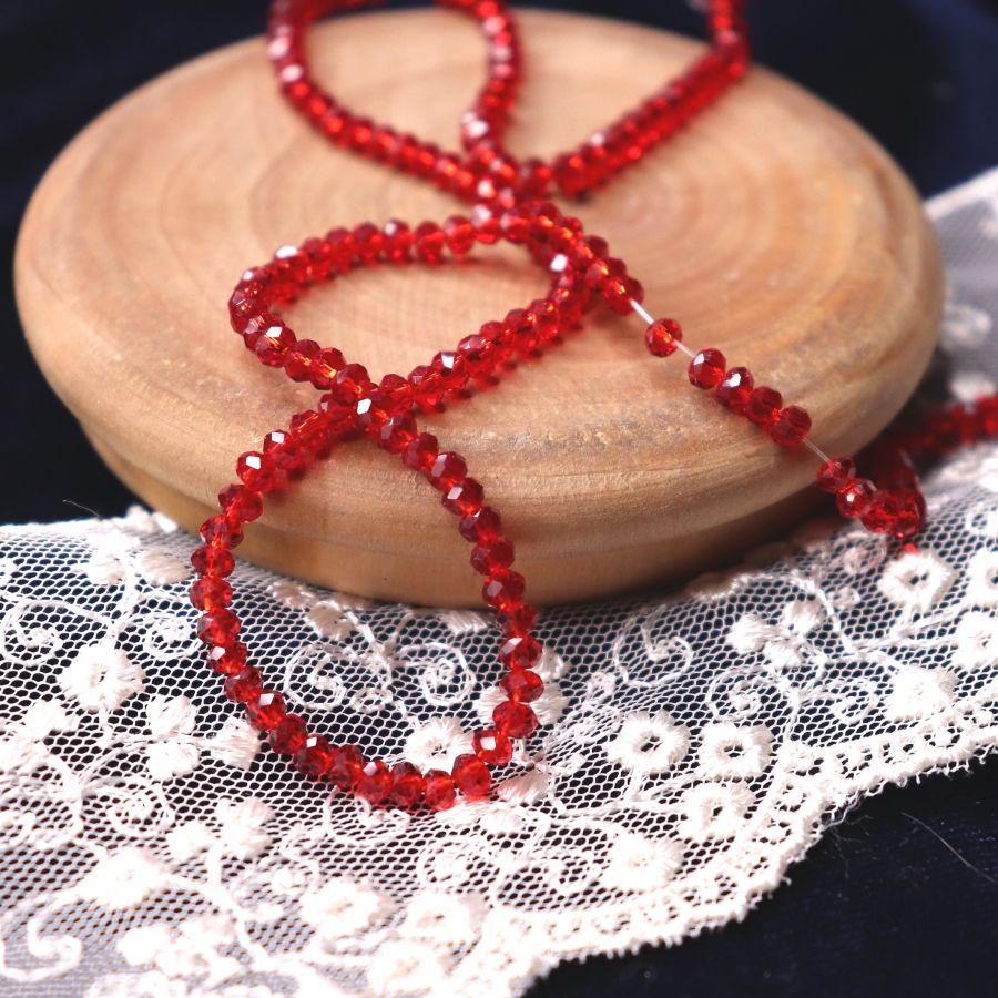 Бусины стеклянные, граненый рондель, цвет 347, Малиновый, 2*3 мм, нитка 34 см
