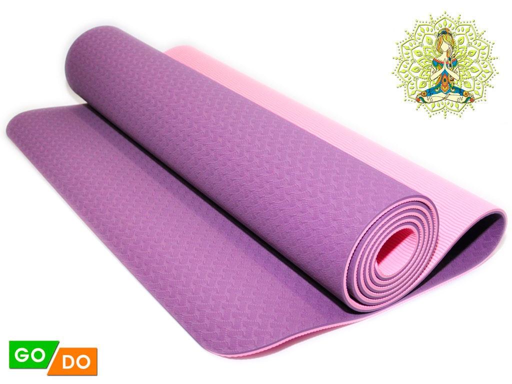 Коврик для йоги и фитнеса. Цвет Фиолетово-розовый, артикул 00071