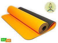 Коврик для йоги и фитнеса. Цвет Черно-оранжевый, артикул 00071