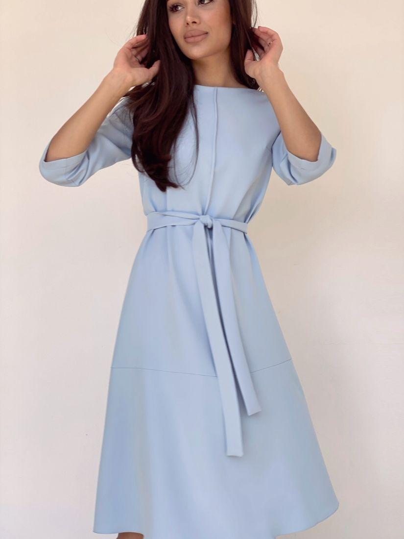 4175 Платье-трапеция с планкой голубое