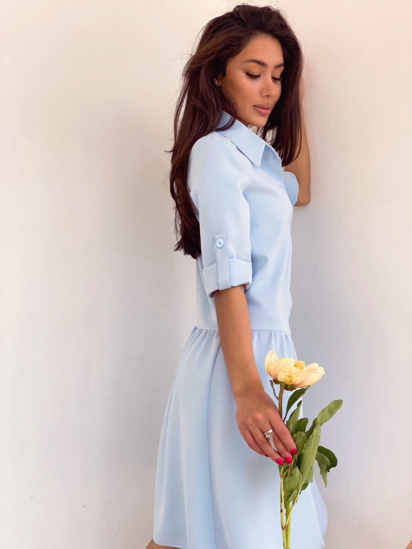 4188 Платье голубое на пуговичках