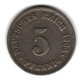 Германия 5 пфеннигов 1906 J
