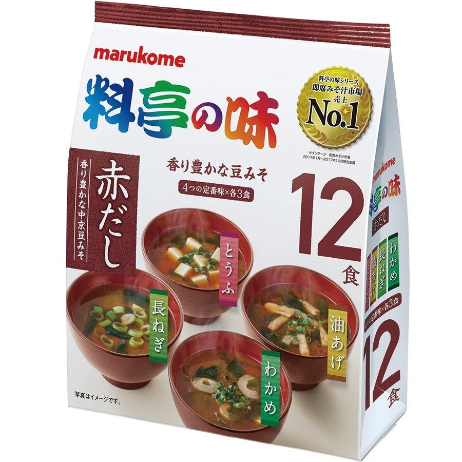 Мисо-суп Marukome Akadashi 12 порций 4 вкуса