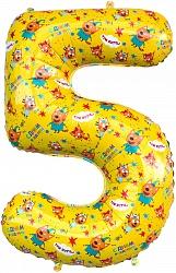 Шар (34''/86 см) Цифра, 5 Три Кота, Желтый, 1 шт. в упак.