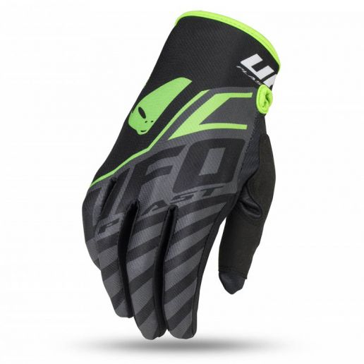 UFO Skill Vanadium Glove Black/Neon Green перчатки для мотокросса, черные