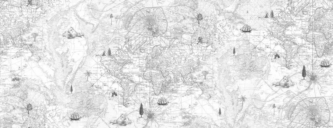Treasure map. Black & white