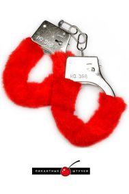 Наручники металлические Пикантные штучки с мехом красные