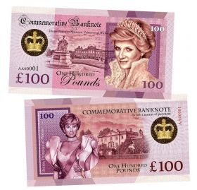 100 Pounds (фунтов) - Принцесса Диана (Diana Frances Spencer. Princess of Wales. England). Памятная банкнота. UNC