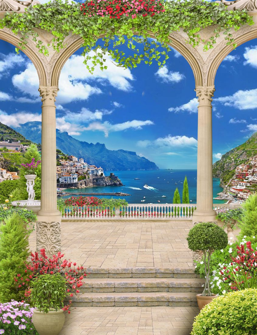 Балкон с видом на морской город 14-67