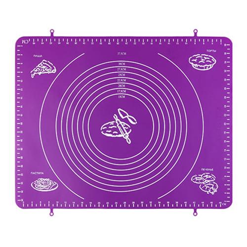 Силиконовый коврик для раскатывания теста, 30х40 см, цвет - фиолетовый.