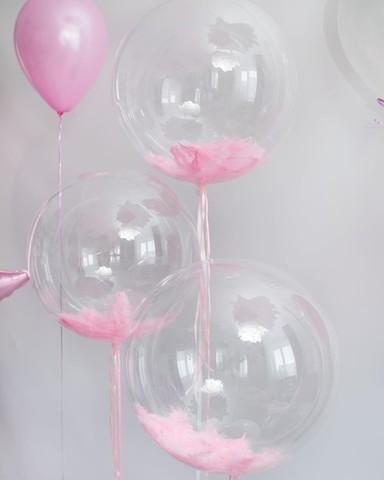 Шары Qualatex bubbles с перьям 55 см