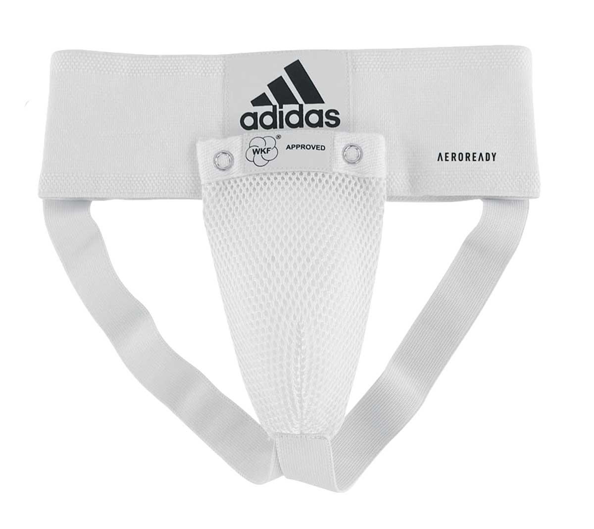 Защита паха Adidas мужская WKF Men Groin Guard белая, размер XS, артикул adiBP06WKF