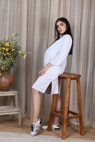 Платье-сафари для беременных и кормящих, белый