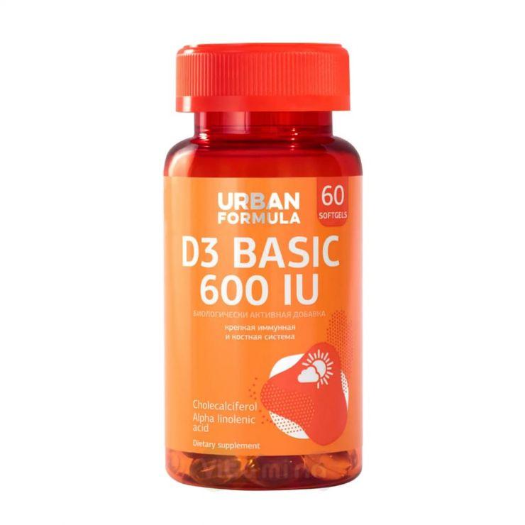 Урбан Формула Витамин Д3 600 МЕ, D3 Basic 600 UI Омега-3, 60 капс.