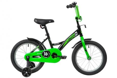 """Велосипед NOVATRACK 14"""" STRIKE чёрный-зелёный"""