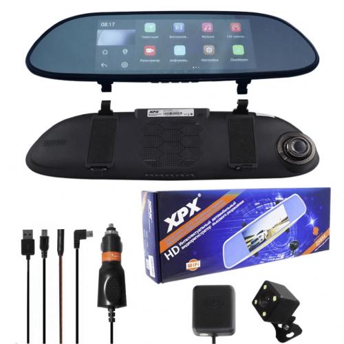 XPX ZX858 Автомобильный видеорегистратор-зеркало (2CAM/GPS/WiFi/Android/G-Sensor/WDR/FM)