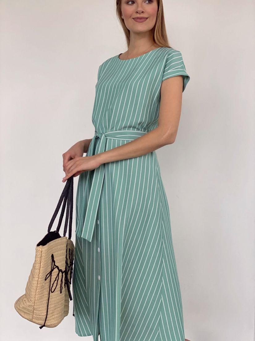 4209 Платье фисташковое в белую полоску