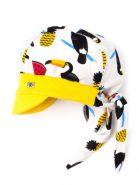 00-0020661  Бандана трикотажная для мальчика с козырьком на завязках, нашивка R, птицы, желтый