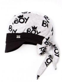 00-0020662  Бандана трикотажная для мальчика с козырьком на завязках, нашивка R, boy, серый