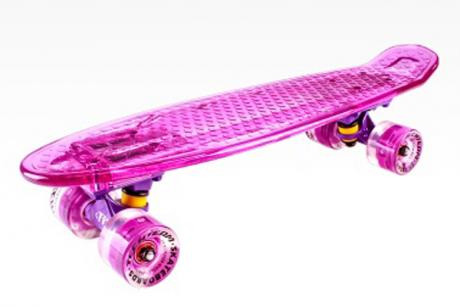 Скейтборд пластиковый Transparent light 22 LED pink