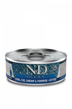 N&D CAT OCEAN COD, SHRIMP&PUMPKIN Kitten (Треска с Креветками и Тыквой для котят) 80г.