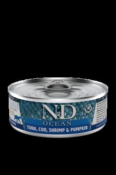N&D CAT OCEAN COD, SHRIMP&PUMPKIN (Треска с Креветками и Тыквой для кошек) 80г.