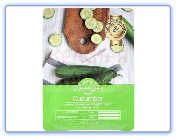 Маска для лица с экстрактом огурца Grace Day Cucumber Cellulose Mask