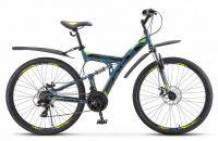 """Велосипед Stels Focus MD 27.5"""" 21-SP V010 19"""" Синий/неоновый зелёный (LU089832 LU083835)"""
