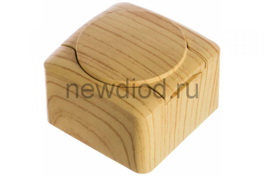 VIOLA Розетка с/з с крышкой керамика белёный дуб (12шт/144шт)