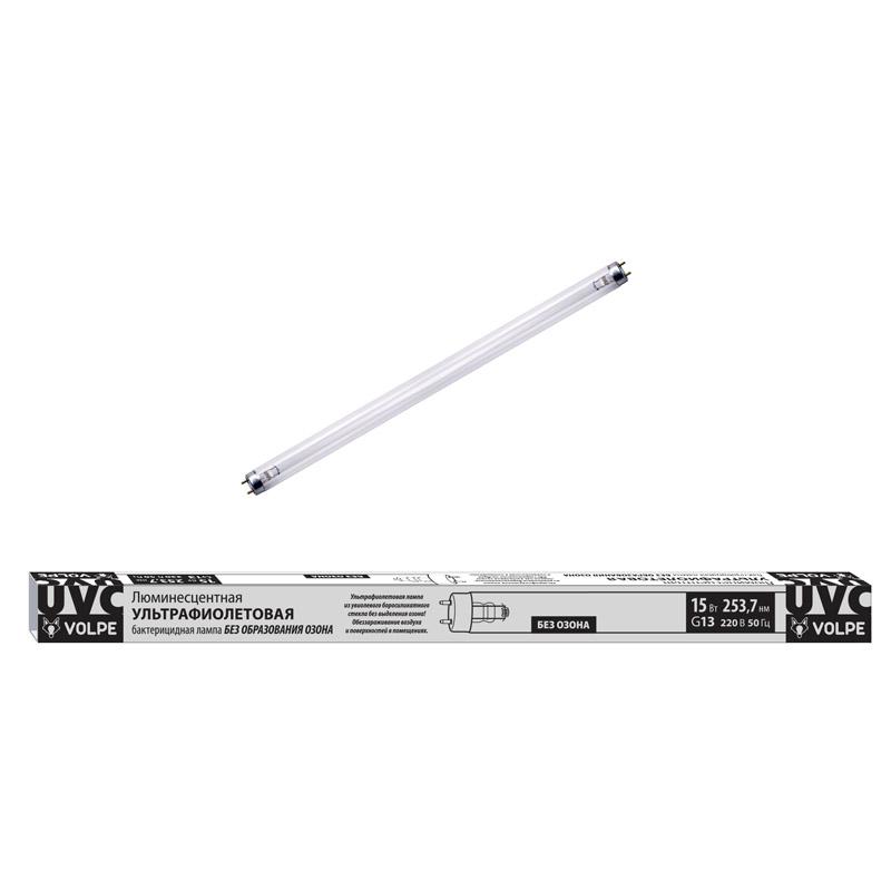 Лампа ультрафиолетовая бактерицидная Volpe G13 15W матовая EFL-T8-15/UVCB/G13/CU/V UL-00007401