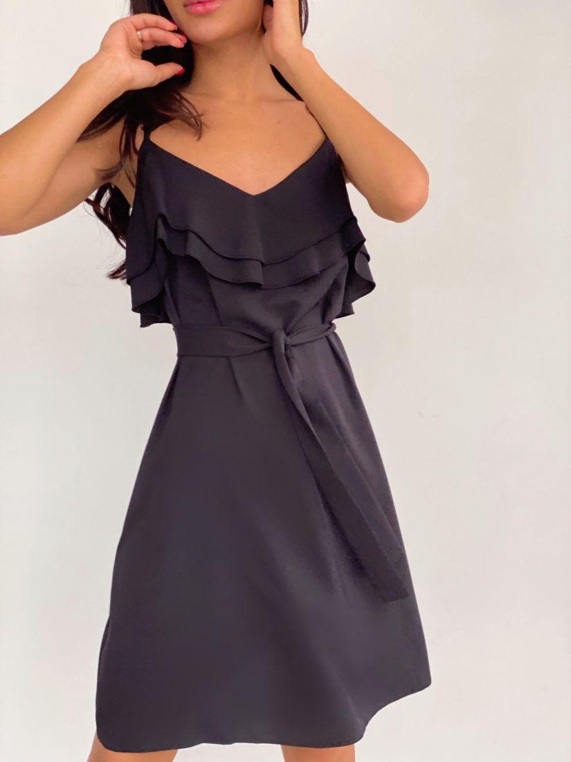 4236 Платье на тонких бретелях чёрное