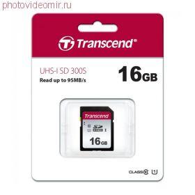 Карта памяти SD 16GB Transcend 300S UHS-I U1 (TS16GSDC300S)