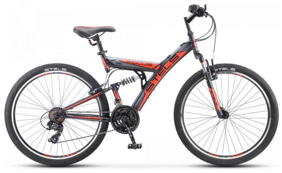 """Велосипед Stels Focus 26' V 18 sp V030 18"""" Чёрный/оранжевый (LU086305 LU083837)"""